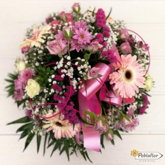 centro flor variada en tono rosa